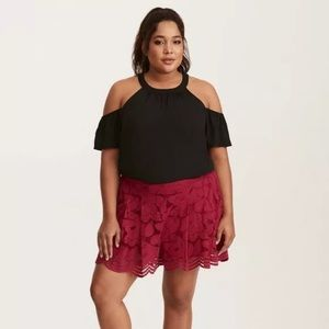 Torrid 1 Floral Lined Shorts Scallop Hem Lace